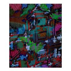 Dark Watercolor On Partial Image Of San Francisco City Mural Usa Shower Curtain 60  X 72  (medium)  by Simbadda
