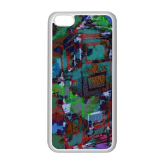 Dark Watercolor On Partial Image Of San Francisco City Mural Usa Apple Iphone 5c Seamless Case (white) by Simbadda