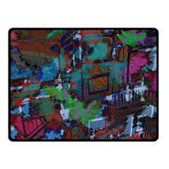 Dark Watercolor On Partial Image Of San Francisco City Mural Usa Double Sided Fleece Blanket (small)  by Simbadda