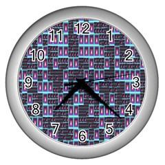 Techno Fractal Wallpaper Wall Clocks (silver)  by Simbadda