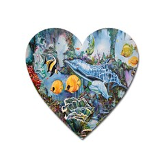 Colorful Aquatic Life Wall Mural Heart Magnet by Simbadda