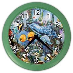 Colorful Aquatic Life Wall Mural Color Wall Clocks by Simbadda