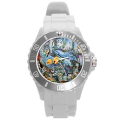 Colorful Aquatic Life Wall Mural Round Plastic Sport Watch (l) by Simbadda