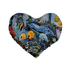 Colorful Aquatic Life Wall Mural Standard 16  Premium Flano Heart Shape Cushions by Simbadda