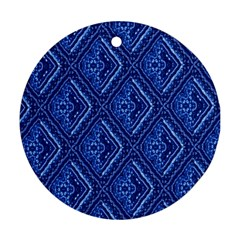 Blue Fractal Background Round Ornament (two Sides) by Simbadda