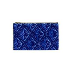 Blue Fractal Background Cosmetic Bag (small)  by Simbadda