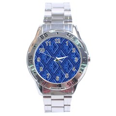 Blue Fractal Background Stainless Steel Analogue Watch by Simbadda