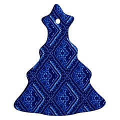 Blue Fractal Background Christmas Tree Ornament (two Sides) by Simbadda