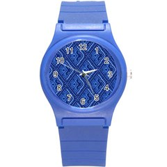 Blue Fractal Background Round Plastic Sport Watch (s) by Simbadda