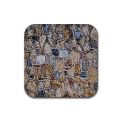 Multi Color Stones Wall Texture Rubber Square Coaster (4 Pack)  by Simbadda