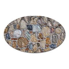 Multi Color Stones Wall Texture Oval Magnet by Simbadda