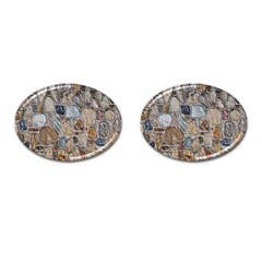 Multi Color Stones Wall Texture Cufflinks (oval) by Simbadda