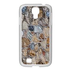 Multi Color Stones Wall Texture Samsung GALAXY S4 I9500/ I9505 Case (White)