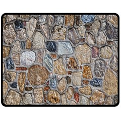 Multi Color Stones Wall Texture Double Sided Fleece Blanket (medium)  by Simbadda