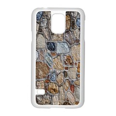 Multi Color Stones Wall Texture Samsung Galaxy S5 Case (white) by Simbadda