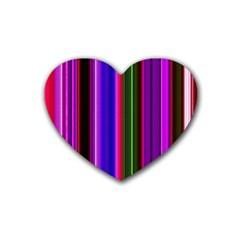 Fun Striped Background Design Pattern Heart Coaster (4 Pack)  by Simbadda