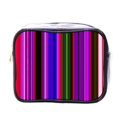 Fun Striped Background Design Pattern Mini Toiletries Bags by Simbadda