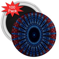Digital Circle Ornament Computer Graphic 3  Magnets (100 Pack)