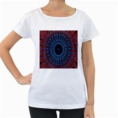 Digital Circle Ornament Computer Graphic Women s Loose Fit T Shirt (white) by Simbadda