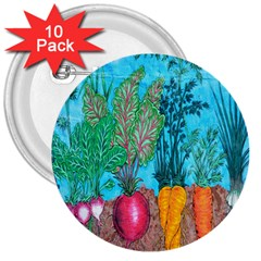 Mural Displaying Array Of Garden Vegetables 3  Buttons (10 Pack)  by Simbadda