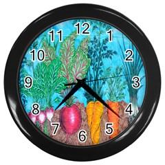 Mural Displaying Array Of Garden Vegetables Wall Clocks (black)
