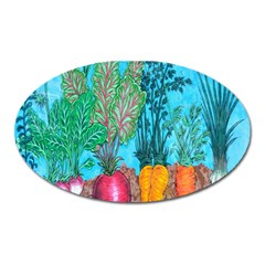 Mural Displaying Array Of Garden Vegetables Oval Magnet by Simbadda