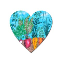 Mural Displaying Array Of Garden Vegetables Heart Magnet by Simbadda