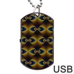 Fractal Multicolored Background Dog Tag Usb Flash (two Sides) by Simbadda