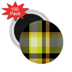 Tartan Pattern Background Fabric Design 2 25  Magnets (100 Pack)  by Simbadda