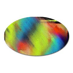 Punctulated Colorful Ground Noise Nervous Sorcery Sight Screen Pattern Oval Magnet by Simbadda