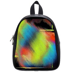Punctulated Colorful Ground Noise Nervous Sorcery Sight Screen Pattern School Bags (small)  by Simbadda
