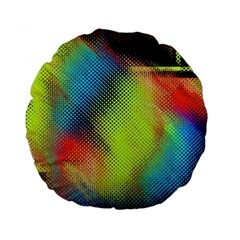 Punctulated Colorful Ground Noise Nervous Sorcery Sight Screen Pattern Standard 15  Premium Round Cushions by Simbadda