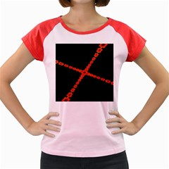 Red Fractal Cross Digital Computer Graphic Women s Cap Sleeve T Shirt by Simbadda