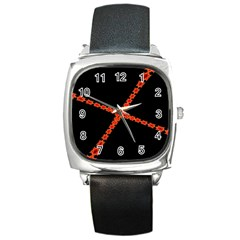 Red Fractal Cross Digital Computer Graphic Square Metal Watch by Simbadda