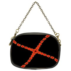 Red Fractal Cross Digital Computer Graphic Chain Purses (two Sides)  by Simbadda