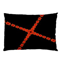 Red Fractal Cross Digital Computer Graphic Pillow Case (two Sides) by Simbadda