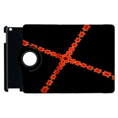 Red Fractal Cross Digital Computer Graphic Apple Ipad 2 Flip 360 Case by Simbadda
