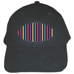 Stripes Colorful Multi Colored Bright Stripes Wallpaper Background Pattern Black Cap by Simbadda