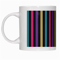 Stripes Colorful Multi Colored Bright Stripes Wallpaper Background Pattern White Mugs by Simbadda