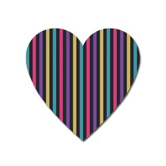 Stripes Colorful Multi Colored Bright Stripes Wallpaper Background Pattern Heart Magnet by Simbadda