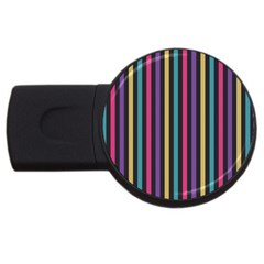 Stripes Colorful Multi Colored Bright Stripes Wallpaper Background Pattern Usb Flash Drive Round (2 Gb) by Simbadda