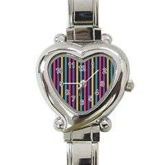 Stripes Colorful Multi Colored Bright Stripes Wallpaper Background Pattern Heart Italian Charm Watch by Simbadda