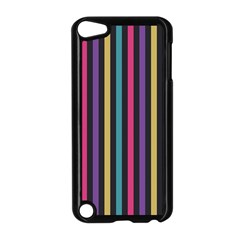 Stripes Colorful Multi Colored Bright Stripes Wallpaper Background Pattern Apple Ipod Touch 5 Case (black) by Simbadda