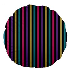 Stripes Colorful Multi Colored Bright Stripes Wallpaper Background Pattern Large 18  Premium Flano Round Cushions by Simbadda