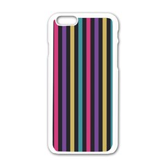 Stripes Colorful Multi Colored Bright Stripes Wallpaper Background Pattern Apple Iphone 6/6s White Enamel Case by Simbadda