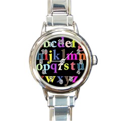 Alphabet Letters Colorful Polka Dots Letters In Lower Case Round Italian Charm Watch by Simbadda
