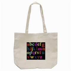 Alphabet Letters Colorful Polka Dots Letters In Lower Case Tote Bag (cream) by Simbadda