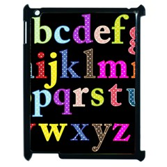 Alphabet Letters Colorful Polka Dots Letters In Lower Case Apple Ipad 2 Case (black) by Simbadda