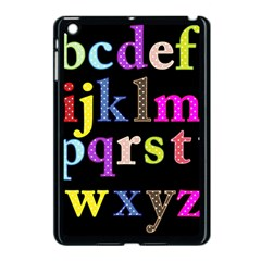 Alphabet Letters Colorful Polka Dots Letters In Lower Case Apple Ipad Mini Case (black) by Simbadda