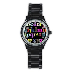 Alphabet Letters Colorful Polka Dots Letters In Lower Case Stainless Steel Round Watch by Simbadda